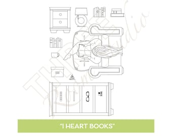 "TRS ""I Heart Books"" Clear Stamp set"
