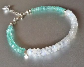 Rainbow Moonstone and Apatite BRACELET with Sterling Extender Chain and Flower Charm