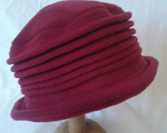 A burgundy wine handmade fleece hat