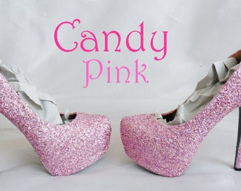 Candy Pink Chunky Glitter Custom Personalized Womens Handmade Glitter Shoe High Heel Stiletto Thin Size 3 4 5 6 7 8 Platform Party Christmas