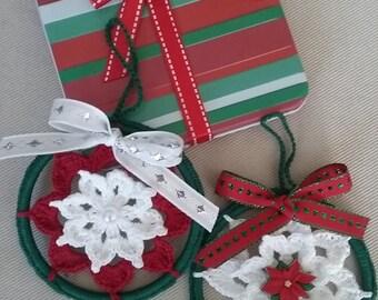 Christmas Ornament,Crochet Christmas Ornament set of 2,Crochet Christmas,Crochet Christmas Tree Decoration,Crochet Flower Ornament set of 2