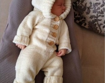 Knitted baby jumpsuit, romper, hypoallergenic, from newborn to 3 years