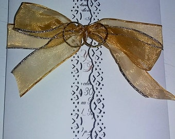 Gate invitation for weeding with ribbon and rings