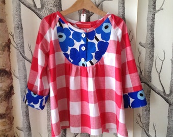 Beautiful tunic/blouse shirt with Marimekkostoff for girls