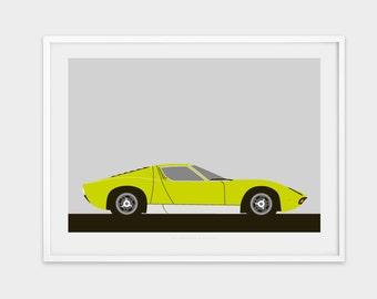 1972 Lamborghini Miura P400 SV print.