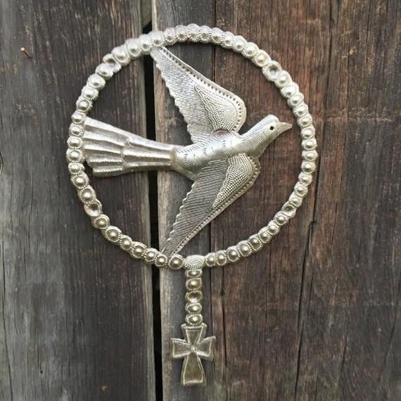 "Rosary Beads, Single Dove, Holy Art, Handmade in Haiti 7.25"" X 11.25"""