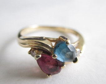 DND 14K Solid Gold Blue Topaz Amethyst Diamonds Ring Size 7