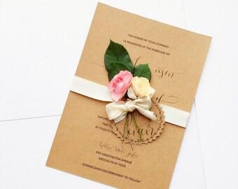 Flower Wedding Invitation, Rustic Wedding Invitations,Eco Wedding Invitation, Country Wedding invitation, Shabby Chic Invitation