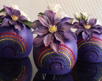 Cute little Bud Vase Trio with Swarovski Crystal Rainbows