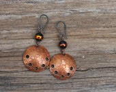 Copper earrings Rustic earrings Disk earrings Dangle earrings Drop earrings Handmade earrings Boho earrings Hammered earrings