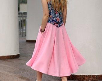 Midi skirt with pockets/ Rose skirt / light pink skirt / full skirt / asymmetrical/flared/ swallow tail high waisted/ full circle skirt