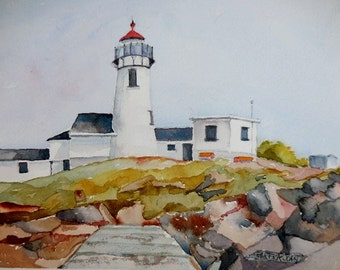 Lighthouse Watercolor, original painting, Landscape, Lighthouse painting