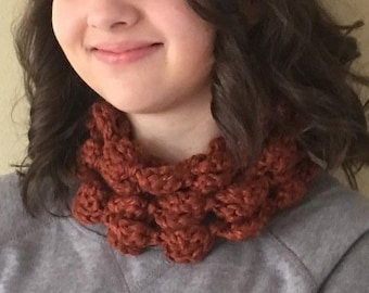 "Crochet Infinity Scarf - Statement Scarf - Handmade Crochet 90"" circumference - Rust Brown - Item S5"