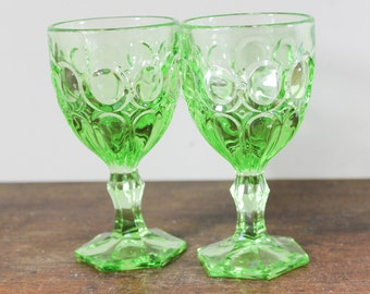 Fostoria Moonstone Glasses in Spring Greens Wine Goblet, Thumbprint Pattern -Set of 2, Vintage Glassware,  Mid Century
