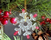 Clear & Red Glass Snowflake Christmas Ornament, 3 Inch,Handmade Fused Glass Suncatcher, Coworker Gift