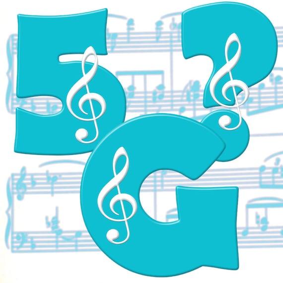 Musical Alphabet Clipart; Printable Digital Music Font