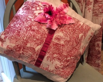 Beautiful Linen & Red Toile Cushion