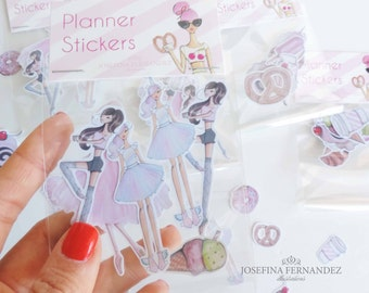 "Set of 5 ""Fashion girls {b}"" planner stickers, fashion illustration stickers, Erin Condren Planner Stickers, ECLP, Filofax, Kikki K stickers"