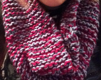 Dark pink and light blue infinity scarf