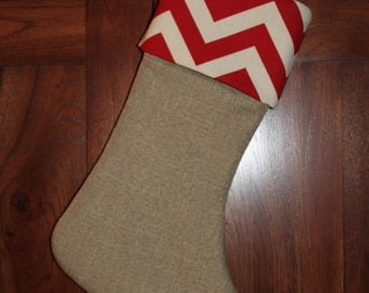 Chevron Red Christmas Stocking, Personalized Monogram Stockings