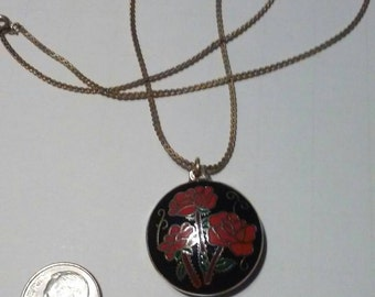 """Pretty rose flower jewelry pendant with black backround, double sided with gold tone trim and 18"""" gold tone chain, very stylish necklace"""