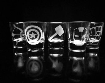 The Avengers- Shot Glasses - Set of 5- Iron Man- Captain America- Thor- Hulk- Hawkeye
