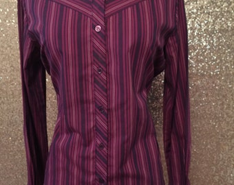 Vintage M/L Burgundy Purple Wine Striped Button Up Long Sleeved Shirt Gil & Co