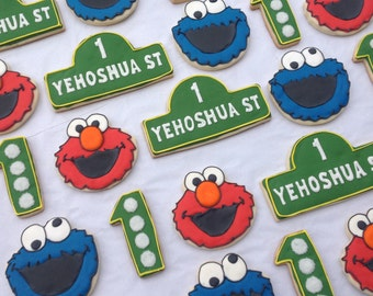 Sesame Street Elmo Cookie Monster Birthday Favor Custom Cookies