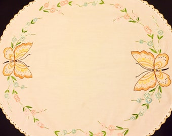 Butterfly Table Cloth, Oval Table Cloth, Small Table Cloth, Yellow Trimmed, Butterfly Stitching