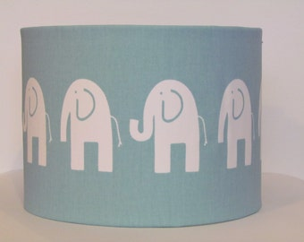 NEW Handmade Lampshade Modern Pale Blue & White Elephant Nursery Baby Childrens 20cm 25cm 30cm Lightshade Novelty