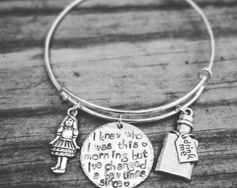 Alice in Wonderland Adjustable Bangle Bracelet