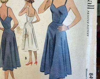 Vintage 1950's slip pattern McCalls 8496