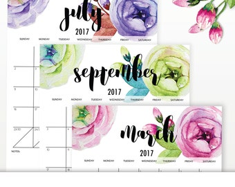 2017 Calendar, Printable 2017 Calendar, Calendar Printable 2017, Flower Calendar, Printable Calendar