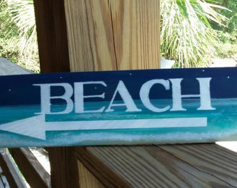 BEACH w/arrow , handmade ,handpainted, and of repurposed wood sign (Beach Salty Decor)