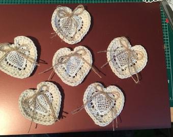 6 Hand Crochet Hearts
