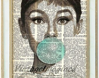 Audrey Hepburn art print on 8x10 upcycled dictionary page