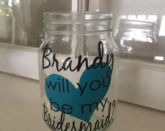 Personalized Will you be my bridesmaid, will you be my maid of honor, personalized bridesmaid gift, Bachelorette glass,