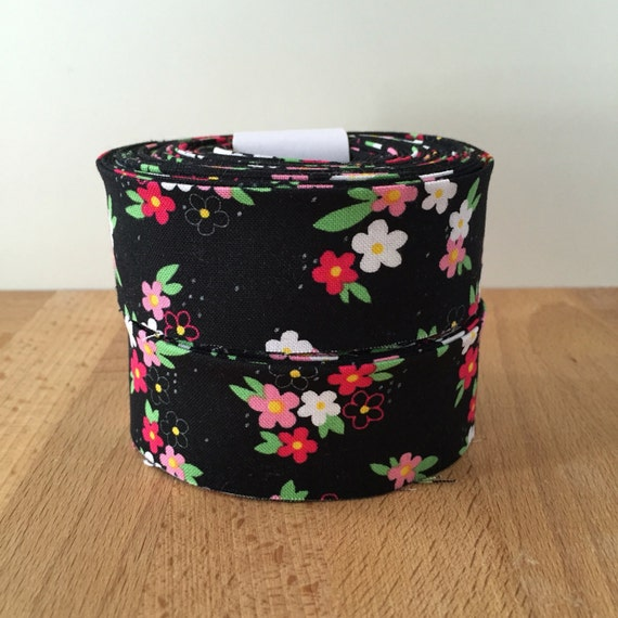 """Michael Miller Perky Petals black floral double-fold Quilt binding- 1.25"""" double-fold cotton- 6 yards"""