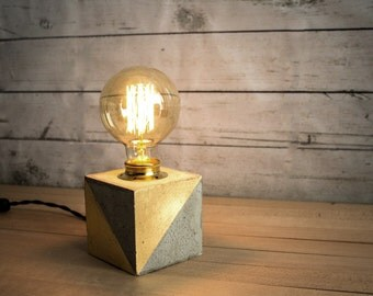 industrial concrete gold table lamp industrial lamp concrete desk lamp gift edison lamp edison bulb