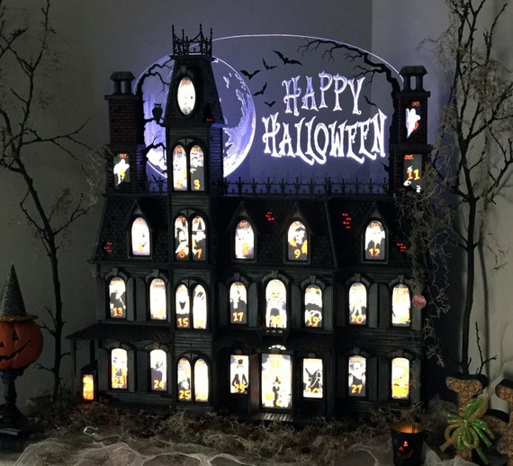 This Halloween Advent Calendar house is hand crafted