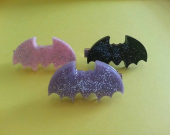 Set of 2 Large Sparkle Bat Hair Clip