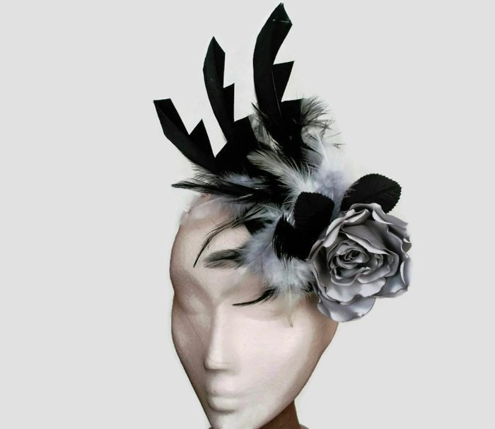 Black Flower Fascinator Hat: Black Fascinator Hat Grey And Black Hat Black Flower Hat
