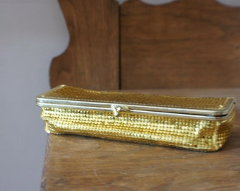 Gold Sequin Vintage Small Cosmetic Case with Mirror Black Velvet Lined Made in Hong Kong - M-377