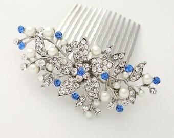 Bridal Hair Comb, Royal Blue Hair Pin, Something Blue Wedding, Sapphire Blue Bridal Hairpiece, Royal Blue Hair Clip, Hair Accessories