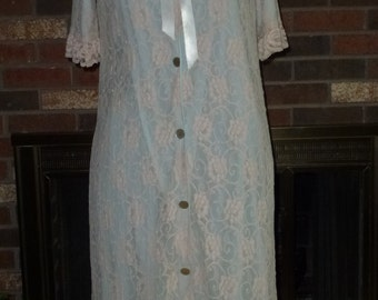 Vintage 1960s Bed House Robe Dress