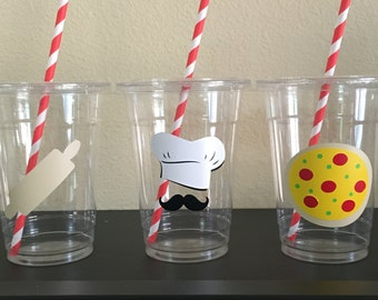 Pizza party cups, chef party cups