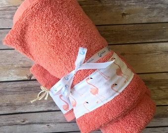 Flamingo Baby Towel - Modern Baby Gift - Flamingo Print Baby Gift - Flamingo Baby Gift - New Baby Gift - Hooded Baby Towel - Arrow Towel