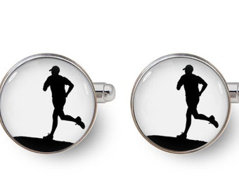 runner cufflinks running cufflinks wedding cufflinks groomsmen team -with gift box