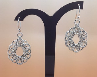 Sterling Silver Helms Chain Chainmaille Earrings.