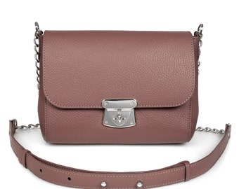 Leather Cross body Bag, Lilac brown Leather Shoulder Bag, Women's Leather Crossbody Bag, Leather bag KF-386